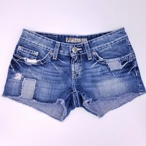 BKE Buckle Alli Denim Shorts Distressed Patchwork